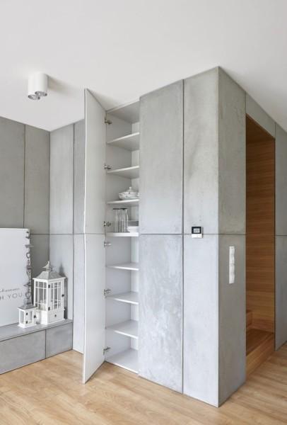 zabudowa szafy z betonowymi frontami