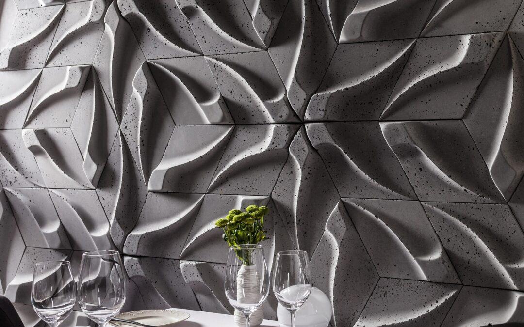Płytka 3d betonowa, mocny rysunek na ścianie.