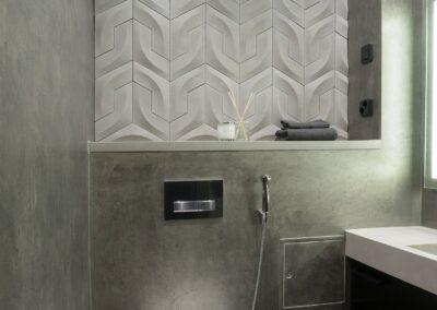 Płytka betonowa w projekcie toalety